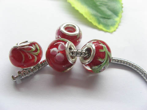 100 Red Round Glass European Beads pa-g48