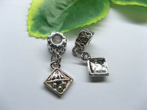 20 Alloy Thread European Beads with Square Dangle pa-m239