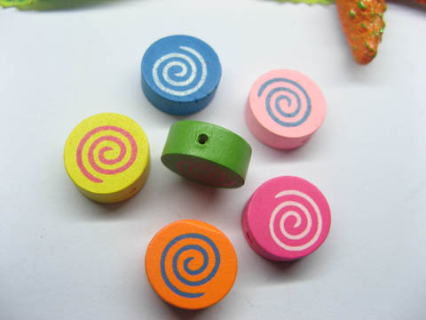 200 Rainbow Candy Wood Beads Mixed Color 14mm