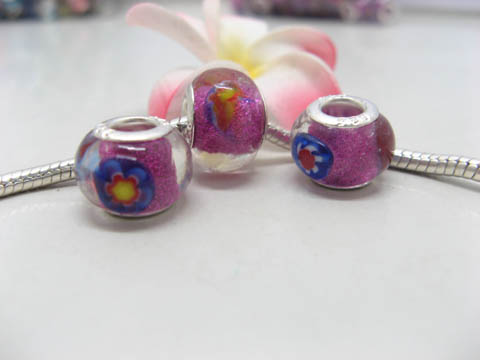 100 Flower Inside Lampwork Glass European Beads
