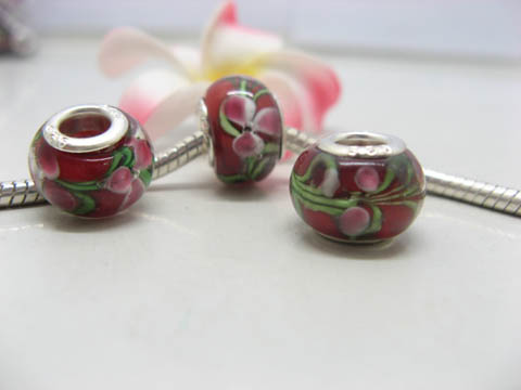 100 New Red Lampwork Glass European Beads