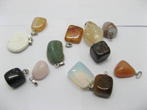 60 Gemstone Nugget Charm Pendants With Silver Bail Assorted
