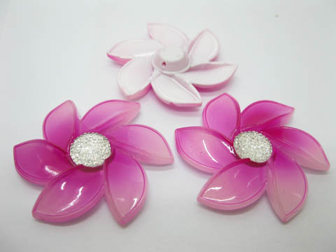 20Pcs Fuschia Flower Hairclip Jewelry Finding Beads 6cm