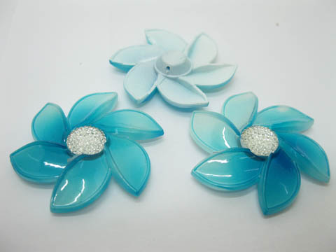 20Pcs Blue Flower Hairclip Jewelry Finding Beads 6cm