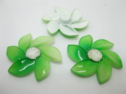20Pcs Green Flower Hairclip Jewelry Finding Beads 6cm
