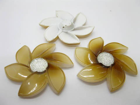 20Pcs Coffee Flower Hairclip Jewelry Finding Beads 6cm