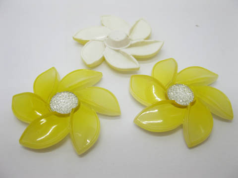 20Pcs Yellow Flower Hairclip Jewelry Finding Beads 6cm