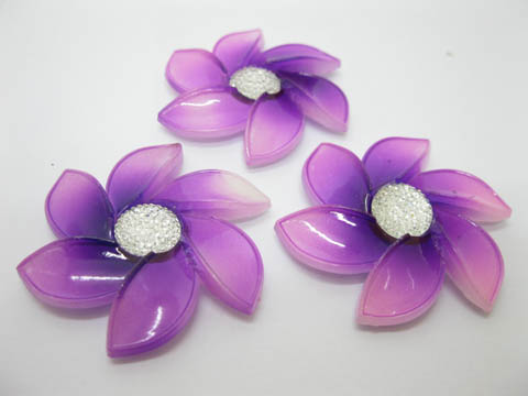20Pcs Purple Flower Hairclip Jewelry Finding Beads 6cm