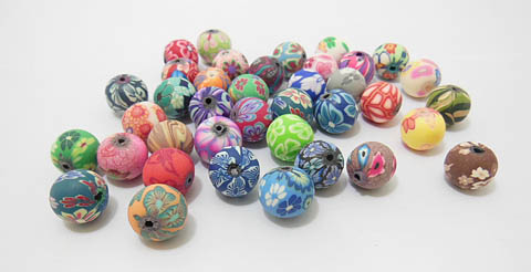200 Fancy 12mm Polymer Clay Beads Finding Mixed
