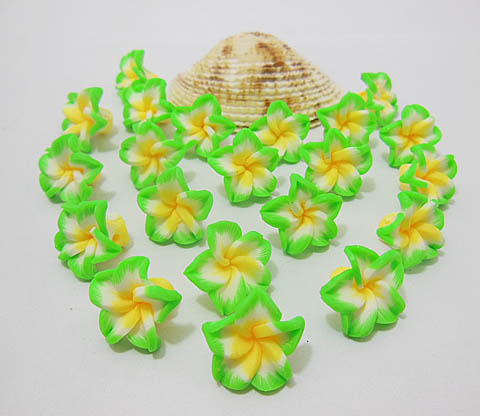 100 Green Fimo Beads Frangipani Jewellery Finding 15mm